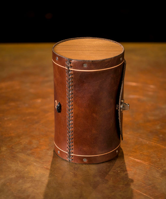 Walnut Handlebar Leather Barrel Bag - Dark Brown