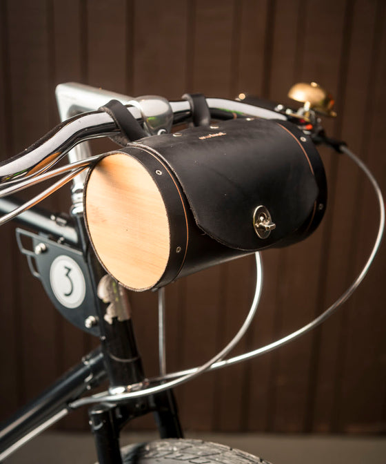 Walnut Handlebar Leather Barrel Bag - Black