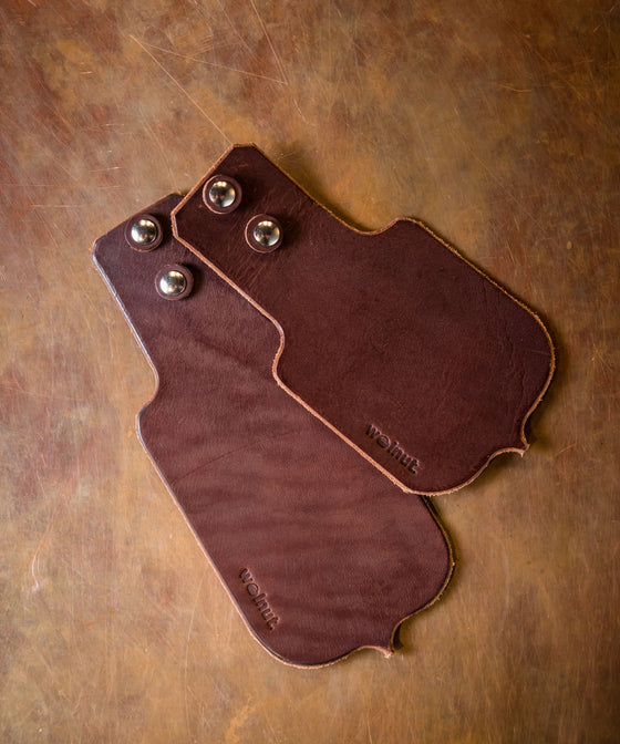 Walnut Leather Mud Flap Set - Dark Brown