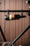Bicycle Wine Rack Genuine Leather - Black