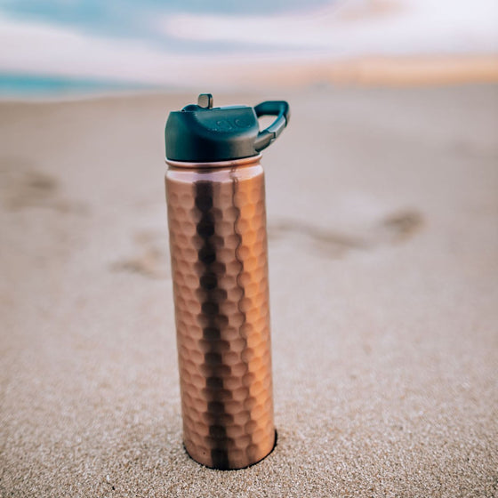 Insulated Bottle 27oz (800ml) Hammered Copper with Carabiner Lid