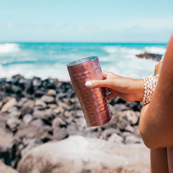 Insulated Cup 20oz (590ml) - Hammered Rose Gold