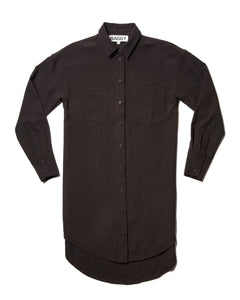 Longline Button Up in Black