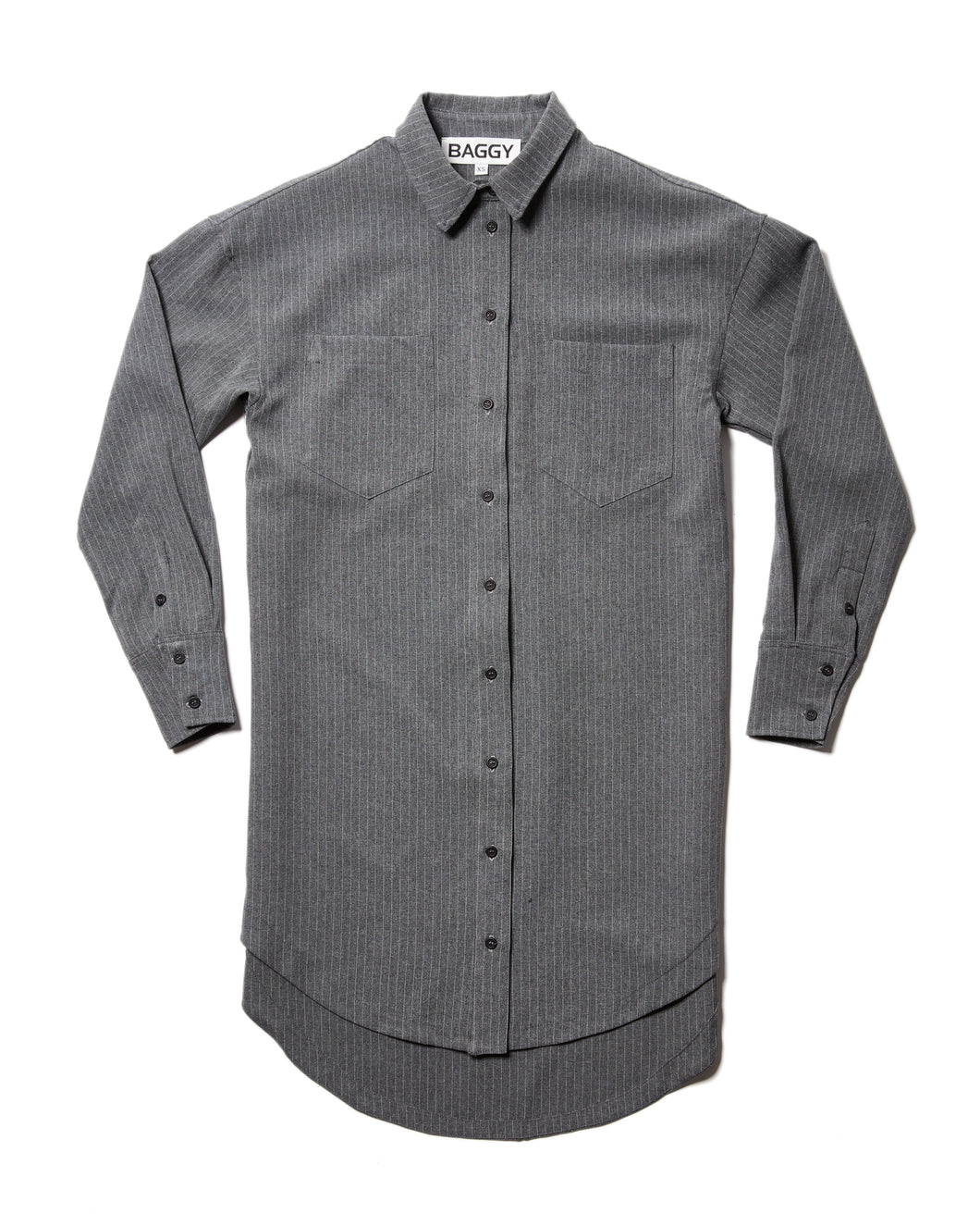 Longline Button Up in Pinstripe