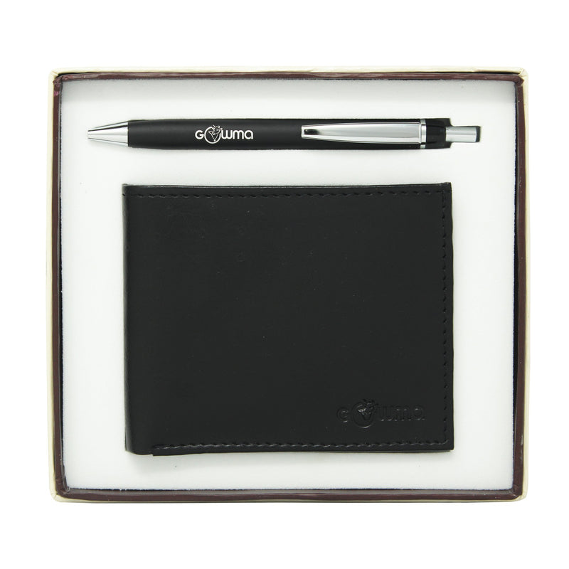 Gift Set ( 2-in-1), Gents Wallet, Ball Pen, Card Board Box-gowma_non_leather