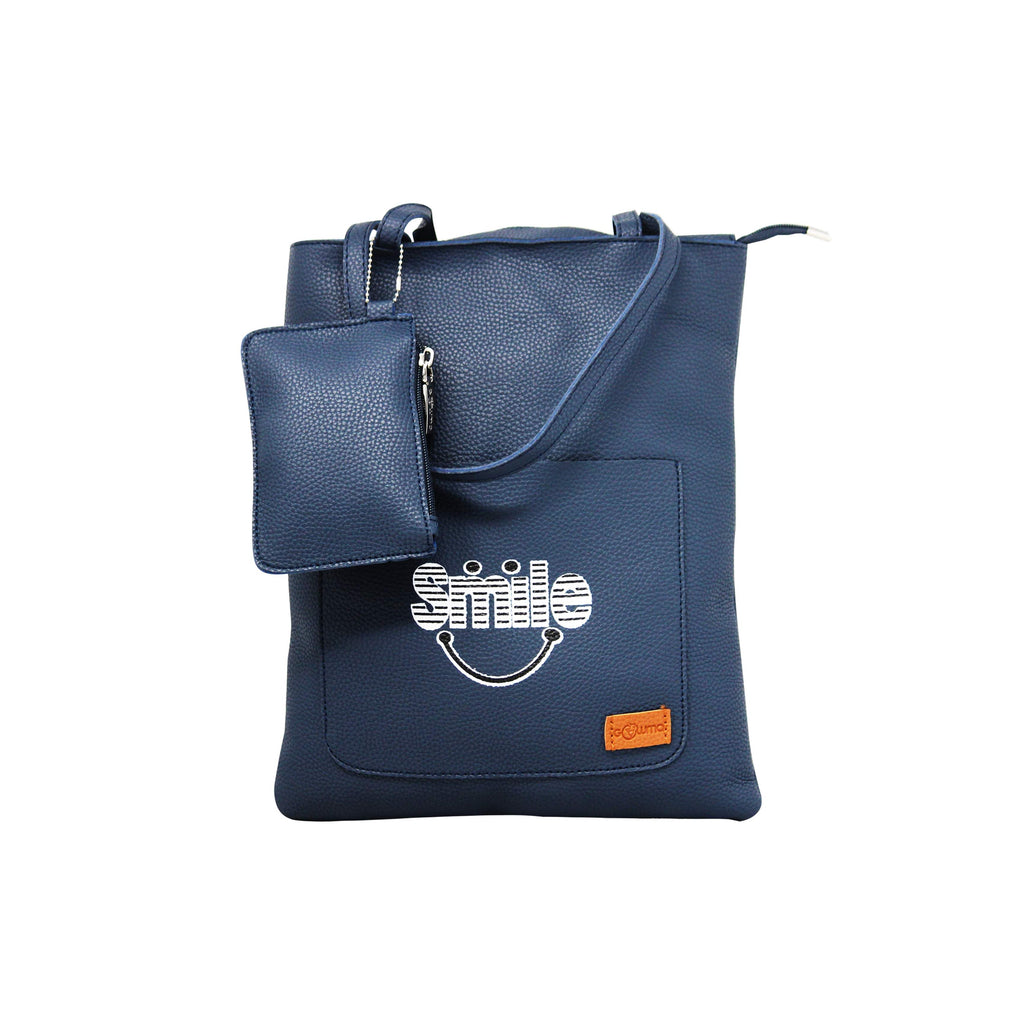 Shopping Bags with Message - Deep Blue-gowma_non_leather