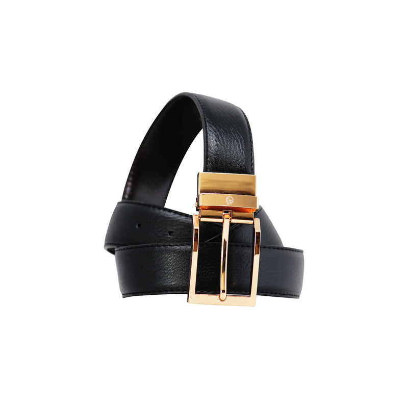 Reversable Buckle Belt - Gold-gowma_non_leather