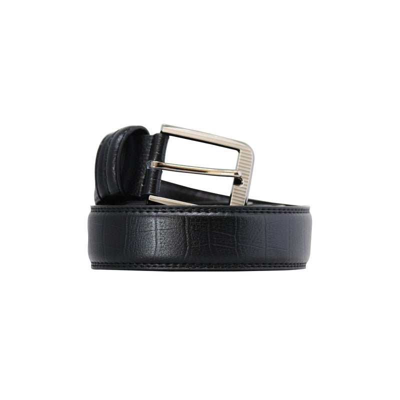 Pin Type Belt Black Textured-gowma_non_leather
