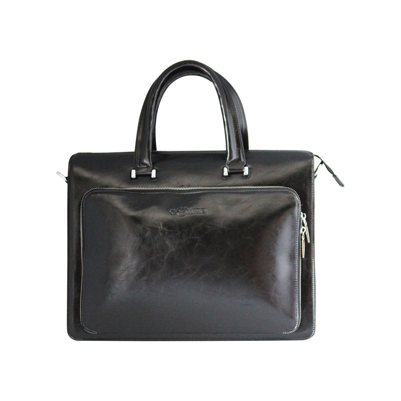 Front Rectangular Zipper Laptop bag - Black-gowma_non_leather