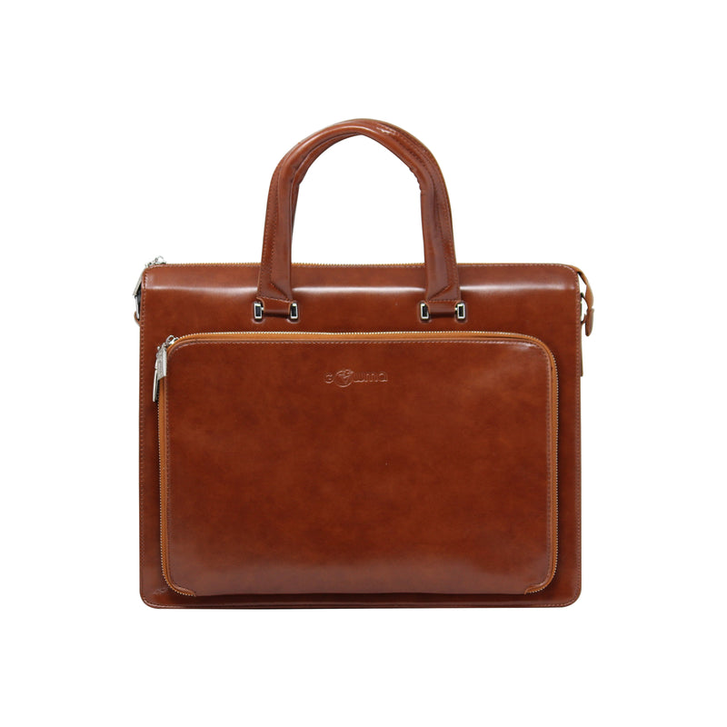 Front Rectangular Zipper Laptop bag - Brown-gowma_non_leather