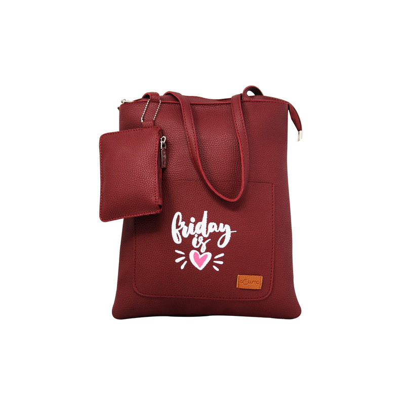 Shopping Bags with Message - Red-gowma_non_leather