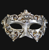 Colombina Barocco Venetian Mask in Silver Leaf