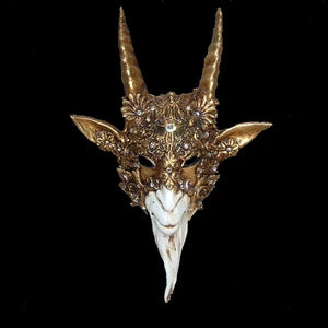 Capricorno Baroque Venetian Mask in Gold Leaf on White
