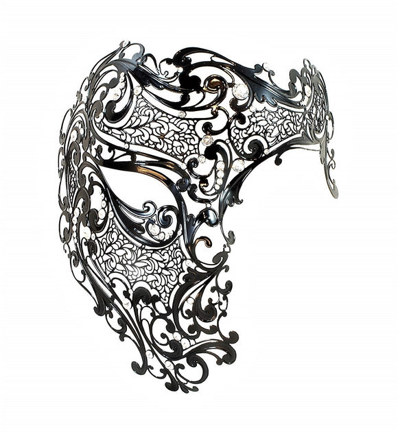 Fantasma dell'Opera Filigree Venetian Mask in Black