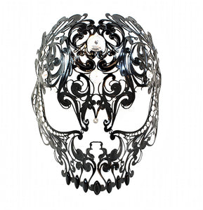 Teschietto Filigree Venetian Mask in Black