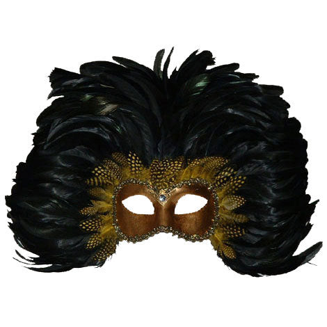 Colombina Piume Feather Venetian Mask in Gold