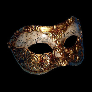 Colombina Musica Venetian Mask in White and Gold