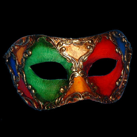 Colombina Harlequin Venetian Mask Multicoloured in Gold