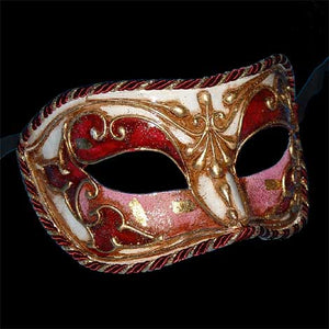Colombina Cordone Venetian Mask in Pink and Red