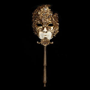 "Volto ""Baroque"" Baton Venetian Mask in Gold Leaf"
