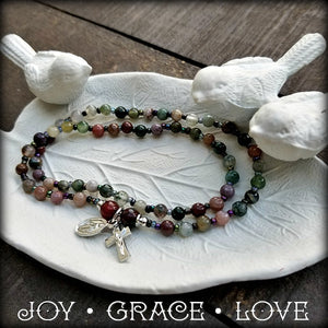 Gemstone Rosary-On-Your-Wrist Bracelet