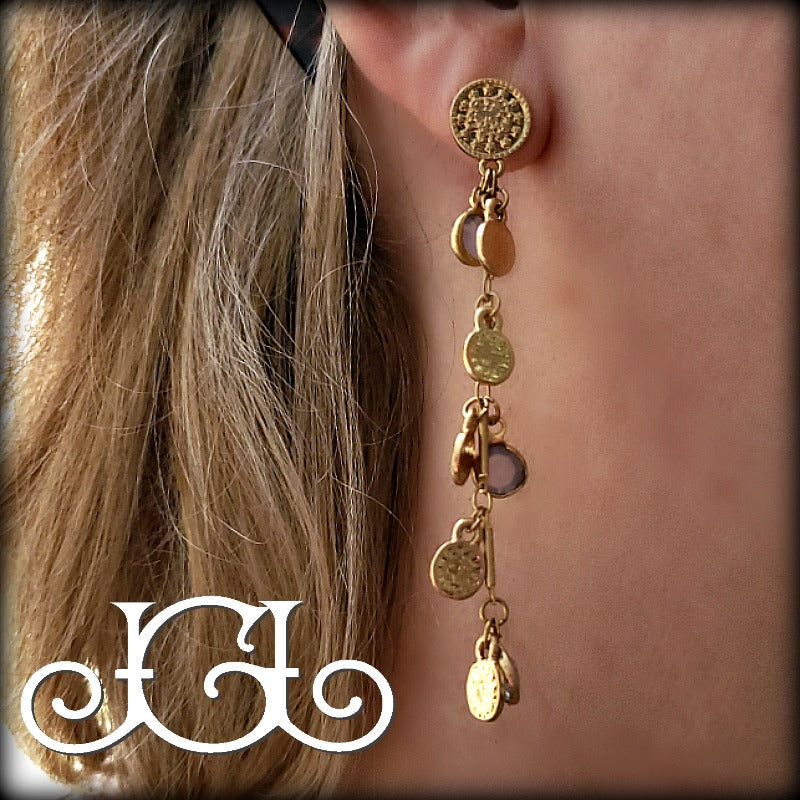 Gold and Gray Drip Drop Earrings