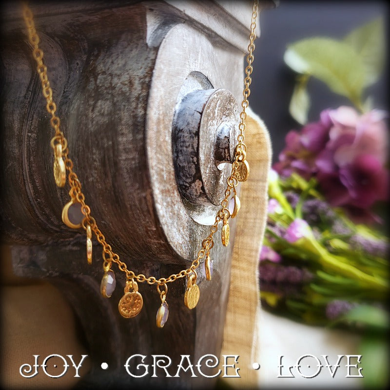 Gold and Gray Drip Drop Necklace