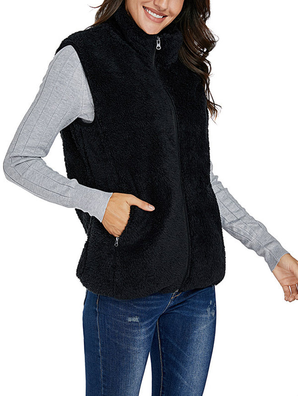 Solid Color Plush Vest Warm Jacket