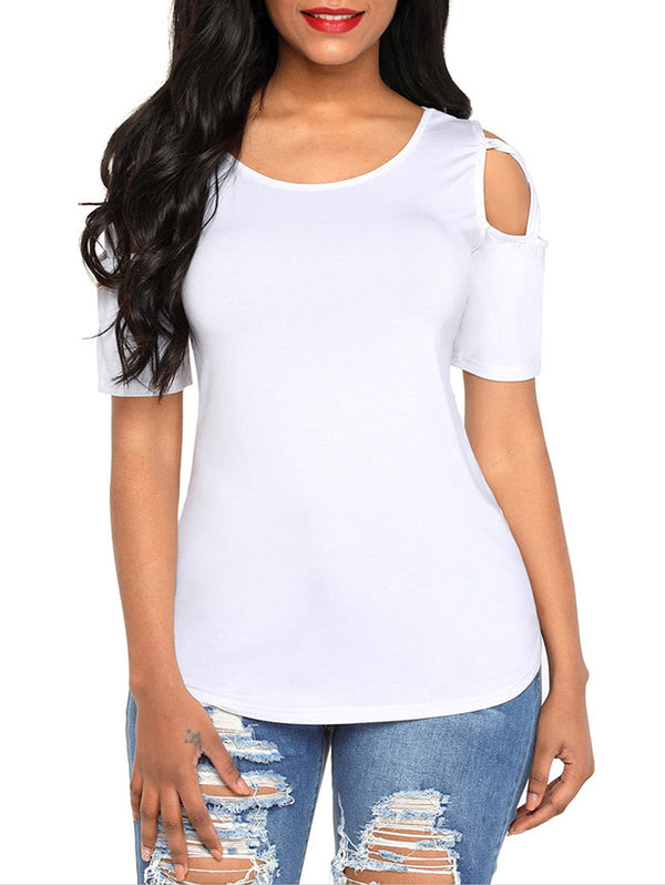 Sexy Cross Strapless Shoulders Polyester Breathable T-shirt
