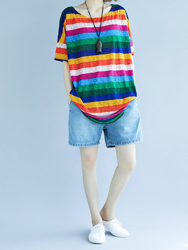 Rainbow Striped Casual T-shirt