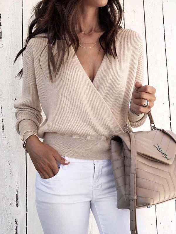 New deep-V long Sleeve Solid Color Knitwear