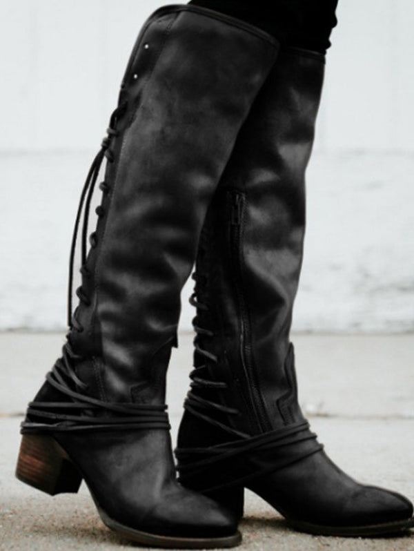 High Boots Tassel Straps Shoes