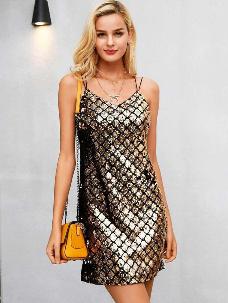 Fashion V-neck Sequined Sling Party Dress