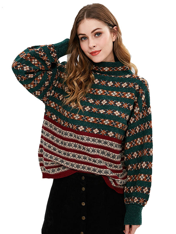 Colorful High-neck Christmas elements Sweater Black Friday Fashion Top