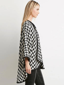 Houndstooth Bat Shirt Five-point Sleeve Windbreaker Cardigan Wool Coat