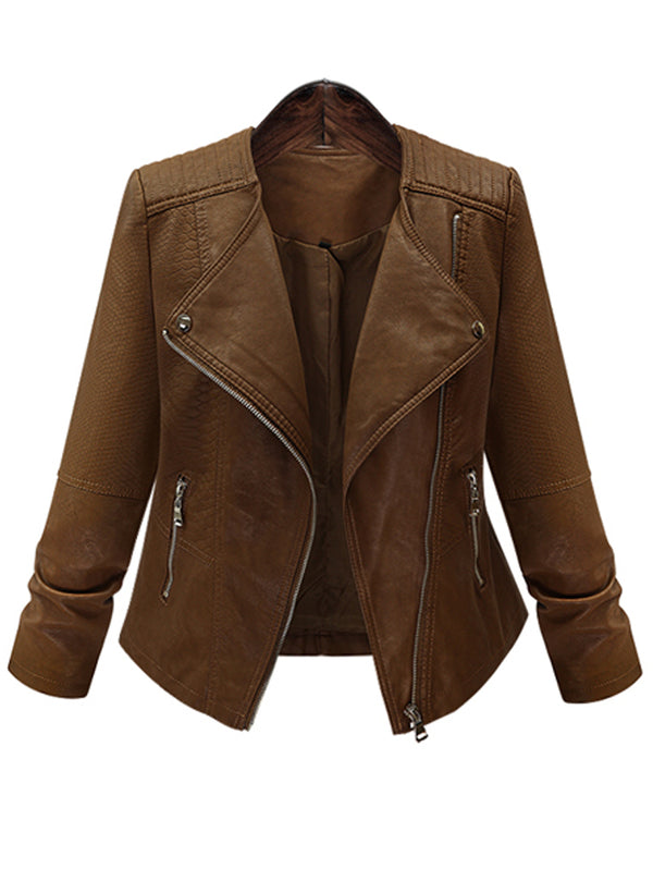 Large Size Long Sleeve Leather Short Jacket