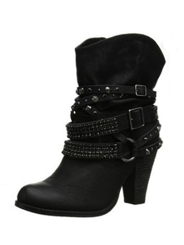 High-heeled   Round Head Large Size Boots