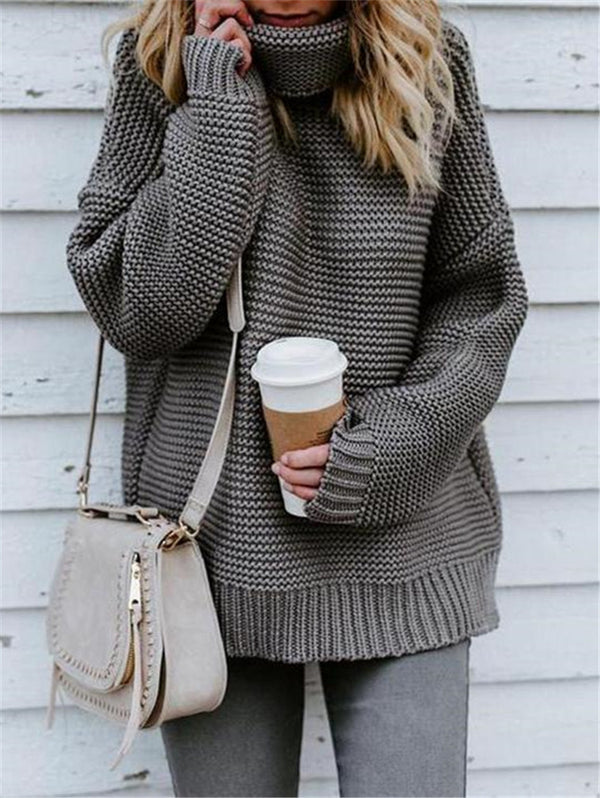 High-Neck Solid Color Ol Commuter Turtleneck Sweater