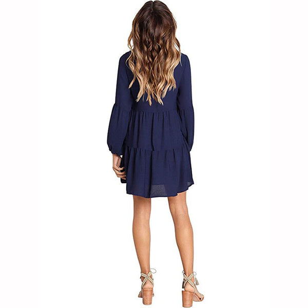 Ruffled Sleeve Chiffon Dress