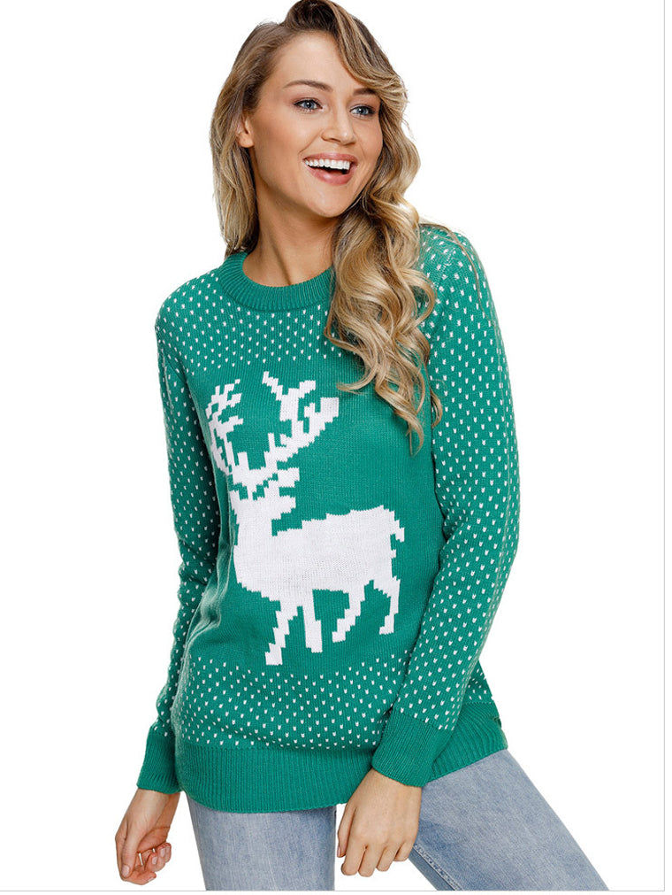 Christmas Elk Ribbed Knit Round Neck Sweater