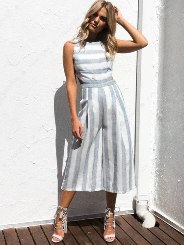 Fluid Stripe Backless Jumpsuits