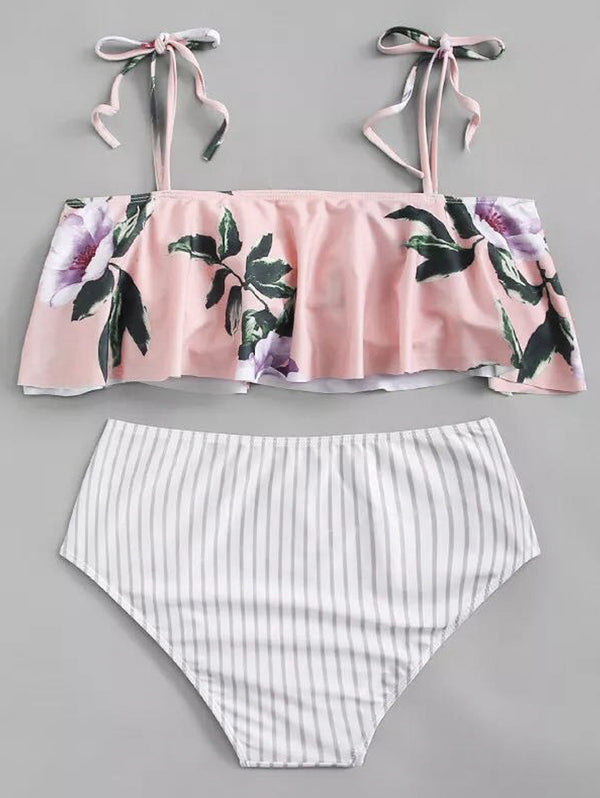 One-shoulder Ruffled Print Bikini Set