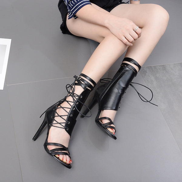 Ankle Strap High Heel Criss Cross Shoes