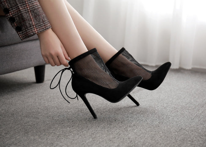 Mesh Ventilation Solid Color High Heel Shoes