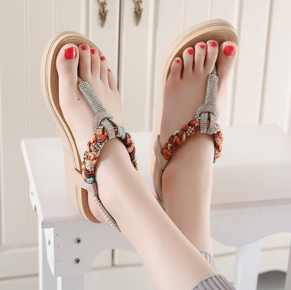 Elastic Band Wedge Toe Post Sandals