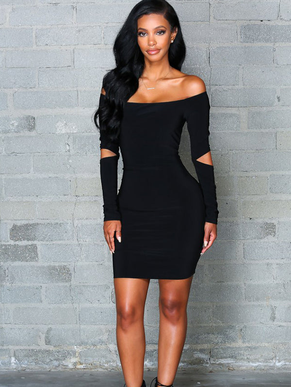 Solid Color One Shoulder Bodycon Dress
