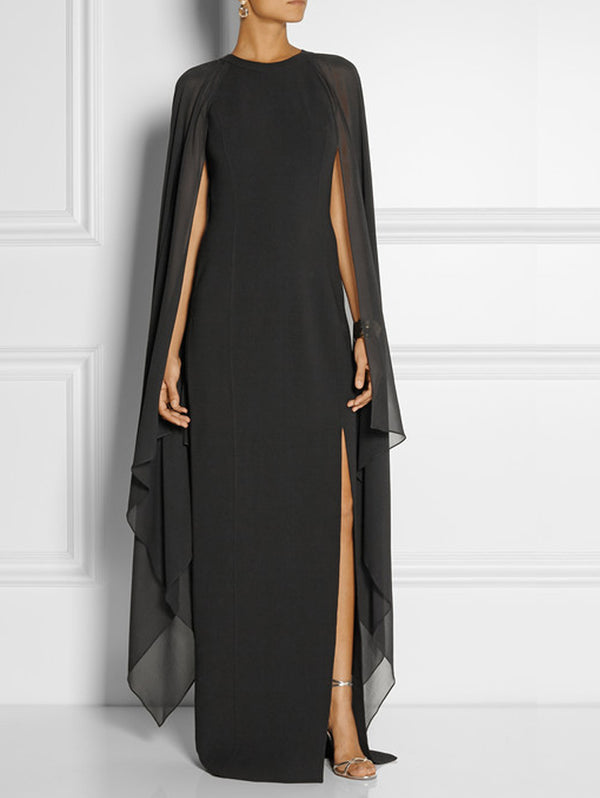 Chiffon Sleeveless Tippet Evening Dress