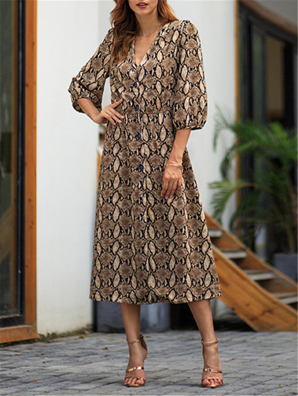V-neck Mid Sleeve Casual Maxi Dress