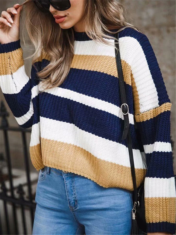 Round Neck Long Sleeve Stitching Loose Knitwear