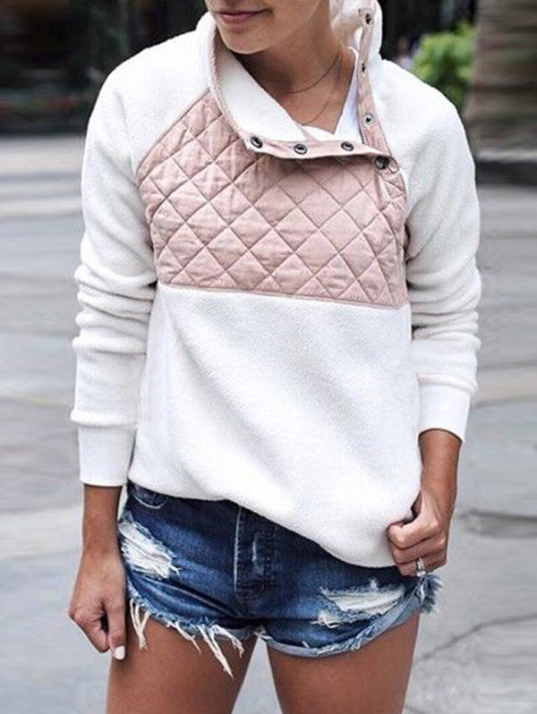 Splicing Oblique Collar Warm Sweater